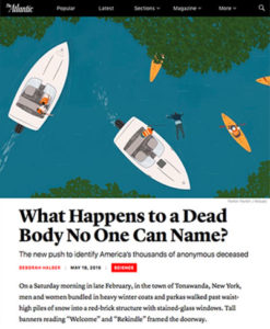 "Screenshot of article ""What Happens to a Dead Body No One Can Name?"" with illustration of overhead view of boats, kayaks and a floating body"