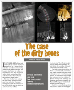 "Image of article ""The case of the dirty bones"" with x-rays of body parts"