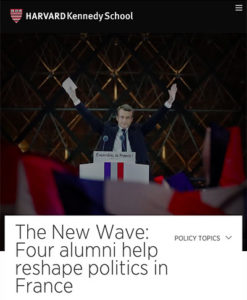 "Screenshot of article ""The New Wave: Four alumni help reshape politics in France"" with photo of Emmanuel Macron"