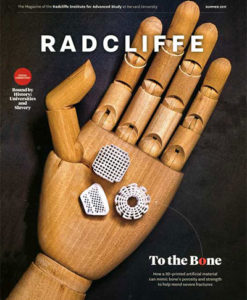 Radcliffe Magazine cover with wooden hand illustration