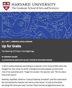"Screenshot of ""Up for Grabs"" article with blue illustration of random line drawings"
