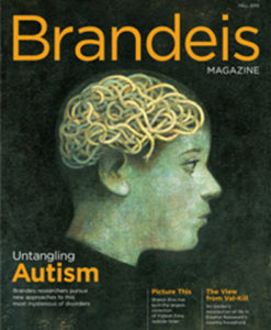Brandeis Magazine cover Fall 2010 with profile of person with tangles in head